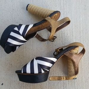 Sam Edelman Mabel Black White Striped Heels 6.5